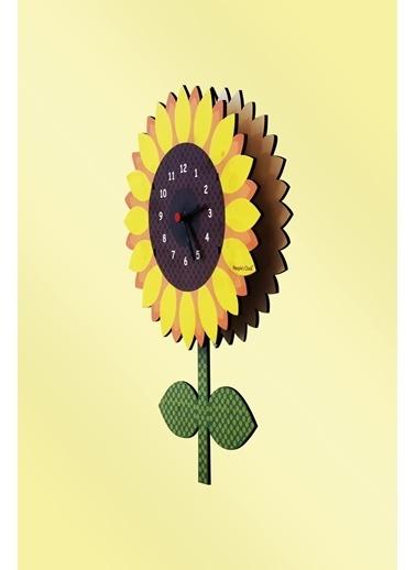 Peoples Clock Ayçekirdeği Sallanan Sarkaçlı Çocuk Odası Duvar Saati Renkli
